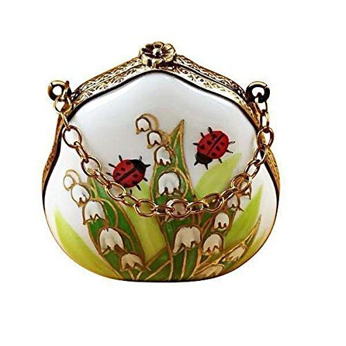LILY OF THE VALLEY PURSE WITH LADYBUGS - LIMOGES BOX