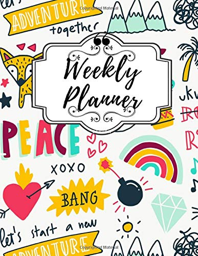 Weekly Planner: Weekly & Monthly Happy Planner , Create Agenda , Idea and Diary for Me and Organizer , 100 Pages por JPDutchie Studio