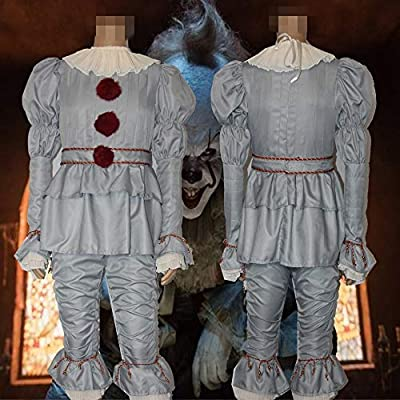Stephen King/'s It Full Set Halloween Cosplay Costume Pennywise Clown Suit Joker