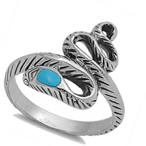 (Southwest Vintage Sleeping Beauty Blue Sky Synthetic TURQUOISE Snake Navajo Arizona Spirit- Sterling Silver Ring size 6-10 (8))