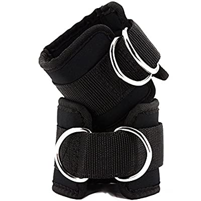 Black Exercise Ankle Straps for Gym Cable Machines Ankle Leg Cuff Tone Glute Abs Thigh Tight Workout Comfortable Neoprene reinforced 2 D rings,Adjustable Magic Tape Closure