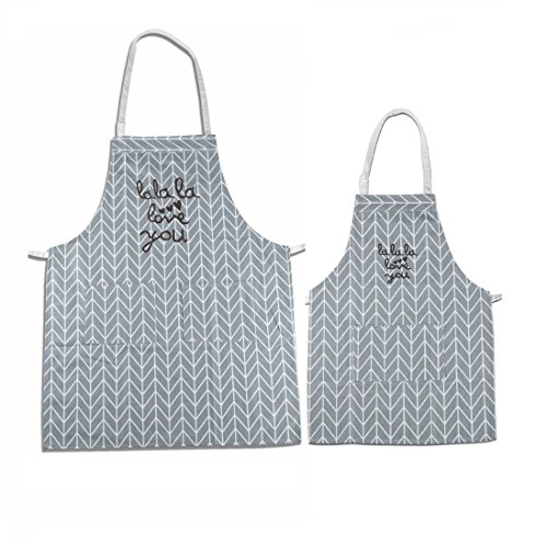 Makimoo Kitchen Bib Apron Set, 2 Pack Adjustable Cotton Linen Chef Cooking Aprons with Pockets For Mom and Daughter Girls Kids, Perfect (Daughter Aprons)