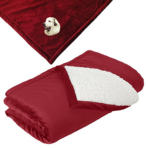 - Cherrybrook Dog Breed Embroidered Mountain Lodge Reversible Blanket - Red - Great Pyrenees