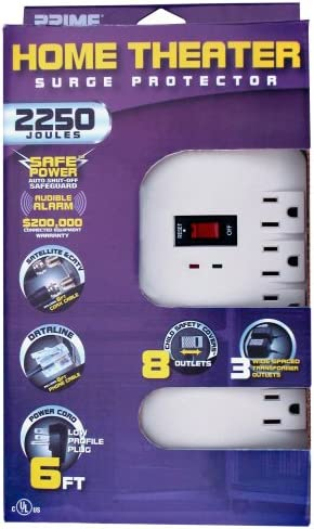 Prime PB003124 Home Theater Satellite TV 8-Outlet 2250-Joule Surge Protector