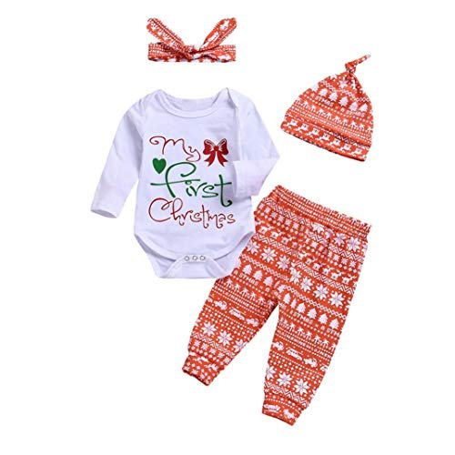 4PCS Christmas Toddler Baby Letter Print Romper+Pants+Hat+Headbands Set Outfit (White, 6-12 Months)