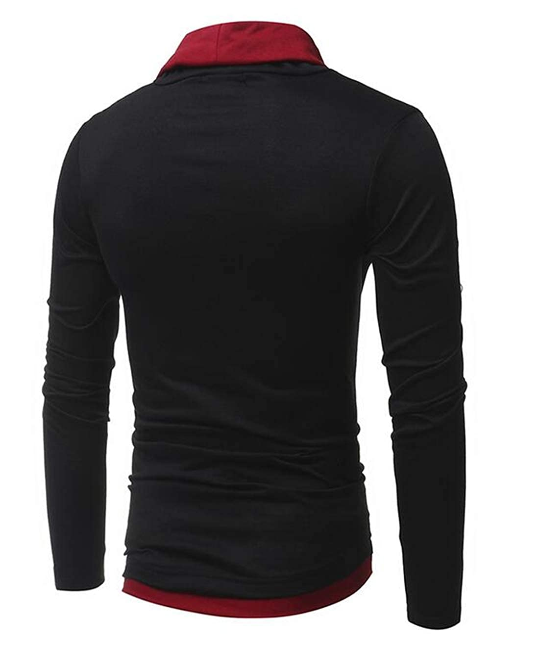 Domple Mens Long Sleeve Basic Drawstring Slim Fit Casual T-Shirts Tops