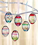 Set of 6 Crackled Glass Egg Ornaments in Painted Multicolor Designs