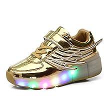 Fuiigo Wings LED Light Up Heelys wheel Roller Skate Shoes for Boys Girls School Sneakers