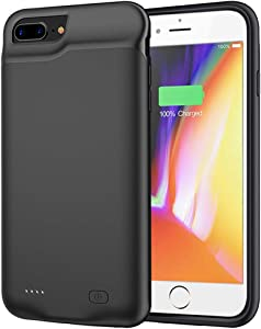 Battery Case for iPhone 8 Plus/7 Plus/6s Plus/6 Plus, 6500mAh Portable Rechargeable Battery Pack Charging Case for iPhone 6s Plus/6 Plus/7 Plus/8 Plus (5.5 inch) Extended Battery Charger Case (Black)