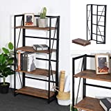 Framodo 4-Tier Folding Bookcase Shelf Organizer, No-Assembly Sturdy Foldable Rustic Stand Storage Shelves