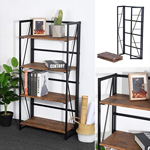 Folding Bookcase Mission - Framodo 4-Tier Folding Bookcase Shelf Organizer, No-Assembly Sturdy Foldable Rustic Stand Storage Shelves