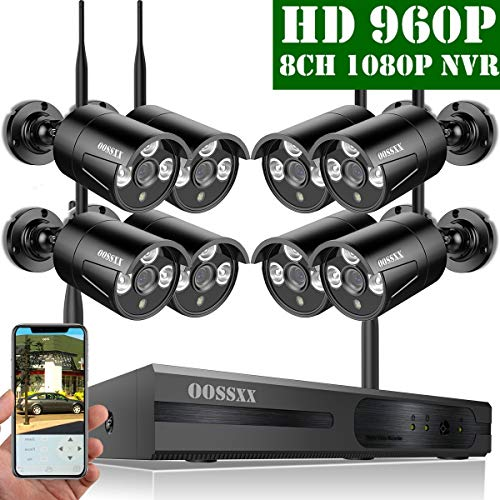 2019 Update OOSSXX HD 1080P 8-Channel Wireless Security Camera System,8 pcs 960P 1.3 Megapixel Wireless Weatherproof Bullet IP Cameras,Plug Play,70FT Night Vision,P2P,App, No Hard Drive