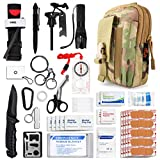 Kitgo Emergency Survival Gear and Medical First Aid Kit - IFAK Outdoor Adventure Camping Hiking Military Essential - Pro Compass, Fire Starter, CAT Tourniquet, Flashlight and More