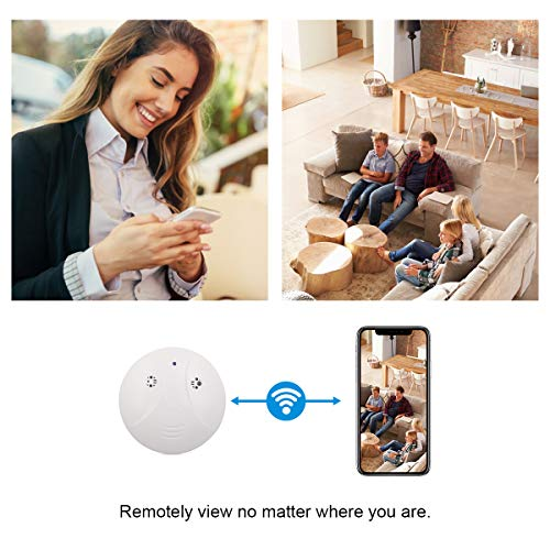 WiFi Spy Smoke Detector Camera, Spy Camera, CAMXSW HD 1080P Wireless Hidden Camera Smoke Detector Real-time Live Video Remote Monitoring Nanny Camera Motion Detection Alarm for Home Security