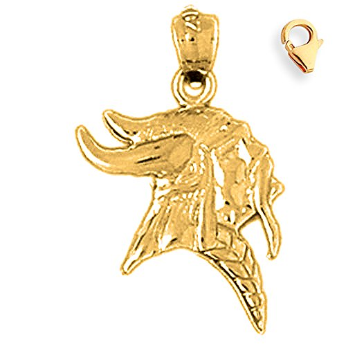 Jewels Obsession Roman Soldier Helmet Pendant | 14K Yellow Gold Viking Warrior Head Charm Pendant - 23mm ()