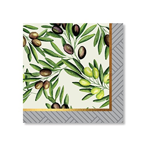 C.R. Gibson TW7-20732 Lunch Napkin (20Ct), Olive