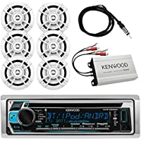 "Kenwood Marine Outdoor Bluetooth Stereo CD MP3 Player USB iPhone AM/FM Receiver, Kenwood 6.5"" Waterproof Speakers, Optional Kenwood Compact 4-channel Amplifier, Enrock Antenna - Marine Audio Kit"
