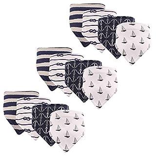 Hudson Baby Unisex Baby Cotton Bandana Bibs, Sailboat 12-Pack, One Size