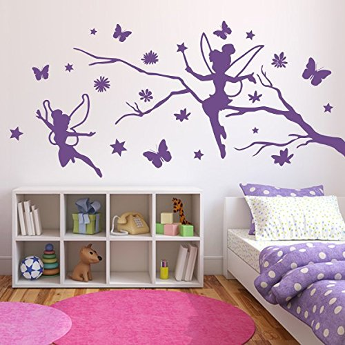 denoda Zweig mit Elfen, Schmetterlingen und Blumen - Wandtattoo Pink 214 x (Wandsticker Wanddekoration Wohndeko Wohnzimmer Kinderzimmer Schlafzimmer Wand Aufkleber)