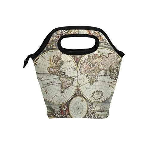 ALAZA Insulated Lunch Box Cooler Bag,Ancient World Map Reusa
