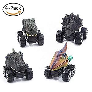 ETYC INC Dinosaur Car, Pull Back Vehicles Dinosaur Toys Set Best Creative Party Gift Favors for 3-14 Years Old Kids with Big Wheels and Cute Head(4 Packs)