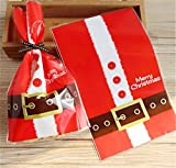 Rzctukltd 50 x Christmas Cellophane Bags Party Cello Cookie Sweet Candy Biscuit Gift Bag (Santa Claus Clothes)