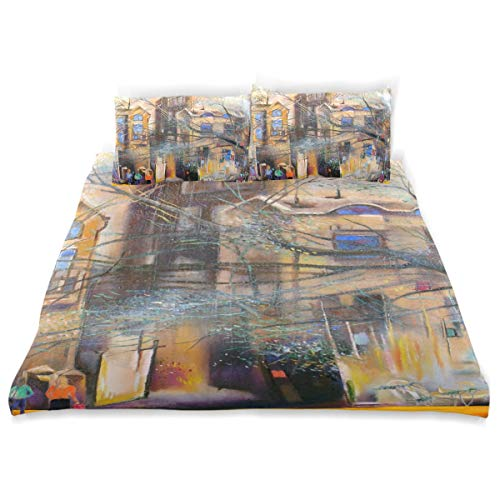 (COVOSA Duvet Cover Set Unknown Moscow Street Oil Painting Cityscape Decorative 3 Piece Bedding Set with 2 Pillow Shams Soft Bedding Set with Zipper Closure)