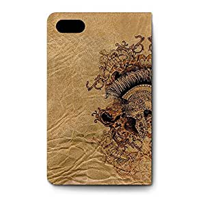 Leather Folio Phone Case For Apple iPhone 4/4S Leather Folio - Gladiator Fight or Die Leather Wrap-Around