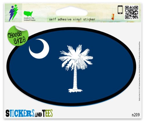 State Flag Oval Decal (South Carolina State Flag Oval SC Car Sticker Indoor Outdoor 5
