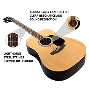 """LyxPro 41"""" Classic 6-String Acoustic Guitar for Beginner, Intermediate & Professional Players – Includes Hex Key & Maintenance Manual by LyxPro"""