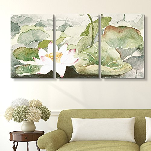 wall26 - 3 Panel Canvas Wall Art - Watercolor Style Lotus Flowers and Leaves - Giclee Print Gallery Wrap Modern Home Decor Ready to Hang - 24
