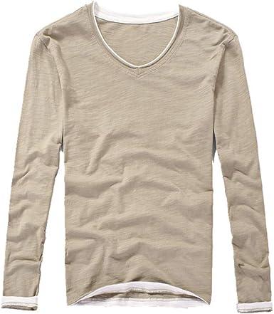 Camiseta de manga larga para hombre, de algodón puro, cuello en V, color sólido: Amazon.es: Ropa y accesorios
