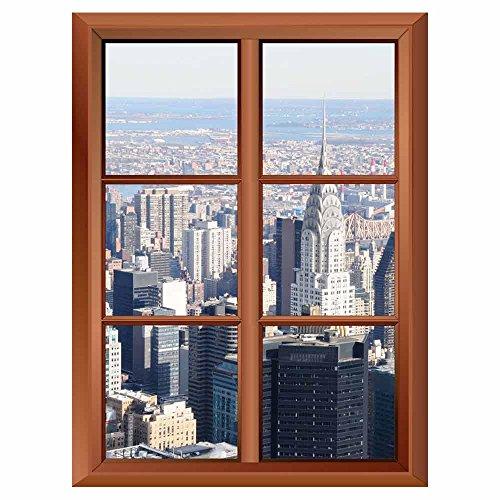 Removable Wall Sticker Wall Mural A Veiw of Manhattan Skyline Creative Window View Vinyl Sticker