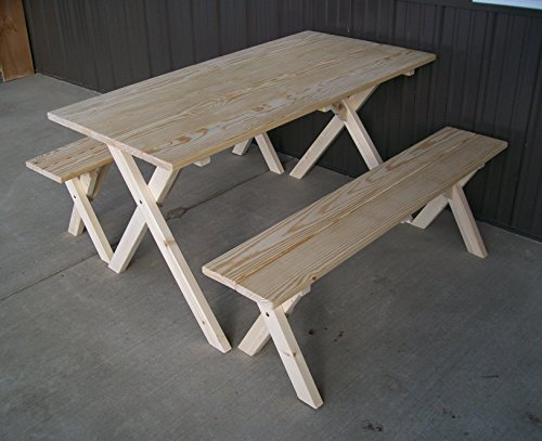 5 Foot Naturally Unfinished Economy Picnic Table with 2 Benches Amish Made USA
