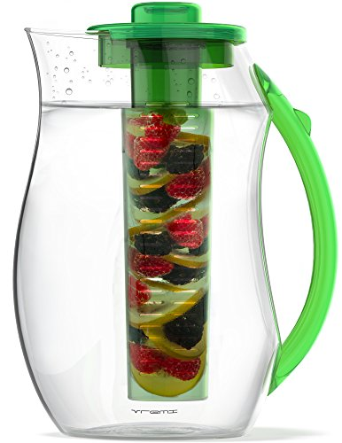 Vremi Fruit Infuser Water Pitcher - 2.5 liter Plastic Infusion Pitcher with Lid for Loose Leaf Tea - Large BPA Free Infuser Pitcher with Spout - 84 oz Sangria Pitcher Vodka Infuser Insert - Green