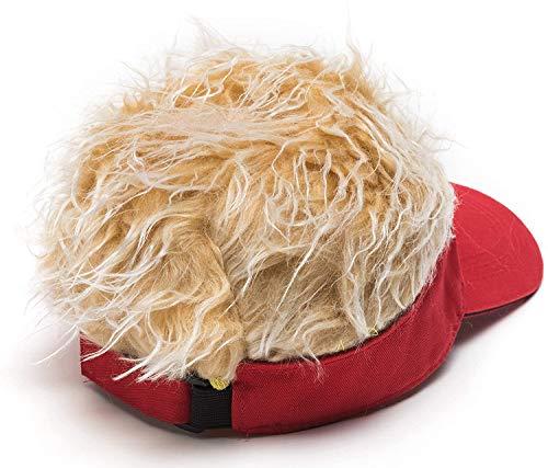 Men\'s Novelty Flair Hair Visors Spiked Funny Golf Hats Fake Wig Peaked Adjustable Baseball Caps Red Golden