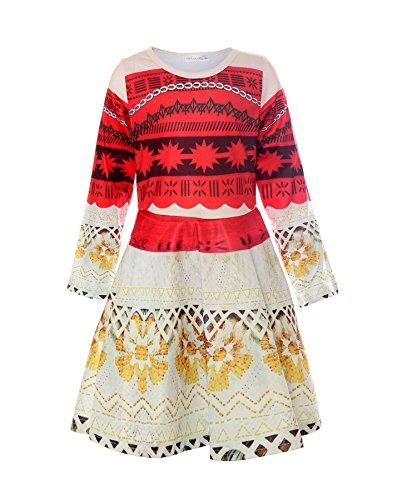 Long Sleeve Kids Costumes (ReliBeauty Girls Princess Moana Costume Long Sleeve Dress up, Red, 4-5)