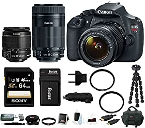 Canon EOS Rebel T5 DSLR Camera with 18-55mm and 55-250mm Lens Bundle a