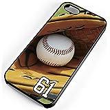 iPhone Case Fits iPhone 4s 4 Baseball Glove Ball Wooden Bat Mitt Any Custom Jersey Number 61 Black Rubber