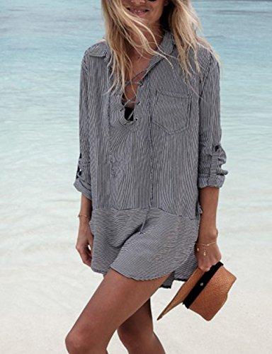 3222a25d3e9e7 Bsubseach Women Embroidered Half/Long Sleeve Swimsuit Cover Up Mini Beach  Dress