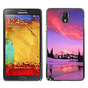 FECELL CITY // Duro Aluminio Pegatina PC Caso decorativo Funda Carcasa de Protección para Samsung Note 3 N9000 N9002 N9005 // Winter Alaska Mountains Lake Pink Purple