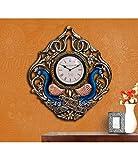 CraftVatika Large Wall Clock Wall Hanging Handmade Wooden Sculpture Peacock Figurine Painting Art