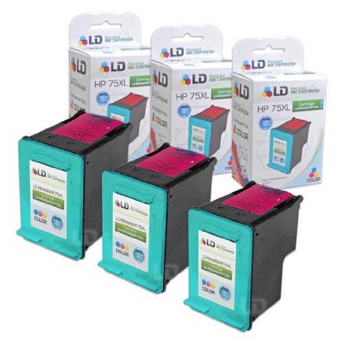 LD Remanufactured Replacement Ink Cartridges for Hewlett Packard CB338WN (HP 75XL) High-Yield Tri-Color (3 Pack)