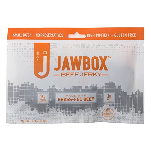 Jawbox Beef Jerky, Hot & Spicy - USA Made From Free-Roaming Grass-Fed Cows - All-Natural, High Protein, Premium Angus - Lean, Organic, Dry, No MSG - Bulk, Snack Packs - (Natural Premium Meat Snack)