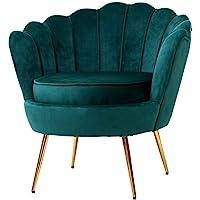Artiss Velvet Upholstery Armchair with Shell Back, Green