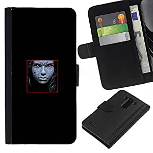 JackGot ( Faccia astratta ) LG G3 la tarjeta de Crédito Slots PU Funda de cuero Monedero caso cubierta de piel