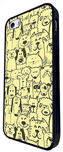 432 - Cute Multi Cats & Multi Dogs Design iphone SE - 2016 Coque Fashion Trend Case Coque Protection Cover plastique et métal - Noir