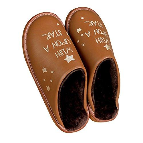 TELLW Leder Pantoffeln Home Herren Ladies Indoor Holzfu?boden rutschfeste Komfort warm Lint Pantoffeln PVC Gummi Bottom Winter heller Kaffee