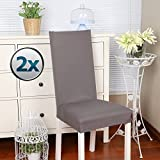 Chair Covers Stretch Chair Cover Slipcovers 2PCS Dining Room Chair Covers Elastic Modern Protector Slipcovers with Elastic Band / Washable Removable Seats Chairs Covers for Hotel , Wedding Part Decor / Home Dining Room (Pack of 2, Gray)