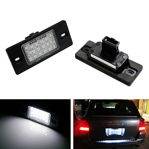 iJDMTOY OEM Replacement White LED License Plate Light Assemblies For Porsche Cayenne Volkswagen Touareg, etc